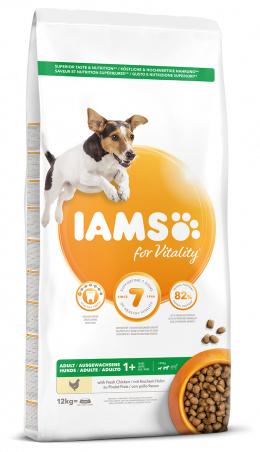 IAMS Dog Adult Small & Medium Chicken 12kg  + kuřecí kostky ZDARMA