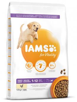 IAMS Dog Puppy Large Chicken 12kg + kuřecí kostky ZDARMA