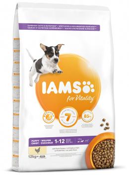 IAMS Dog Puppy Small & Medium Chicken 12kg + kuřecí kostky ZDARMA