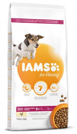 IAMS Dog Senior Small & Medium Chicken 12kg + kachní kostky ZDARMA