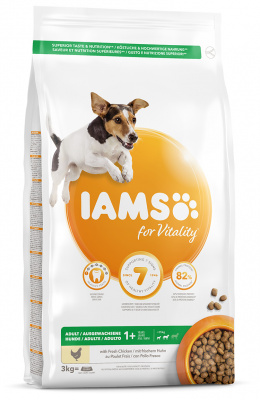 IAMS Dog Adult Small & Medium Chicken 3kg + kuřecí kostky ZDARMA