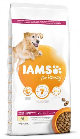 IAMS Dog Senior Large Chicken 12kg + kachní kostky ZDARMA