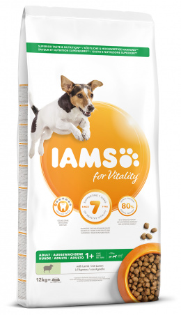 IAMS Dog Adult Small & Medium Lamb 12kg + kachní kostky ZDARMA