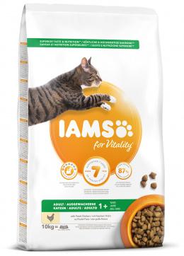 IAMS Cat Adult Chicken 10kg + kachní kostky ZDARMA