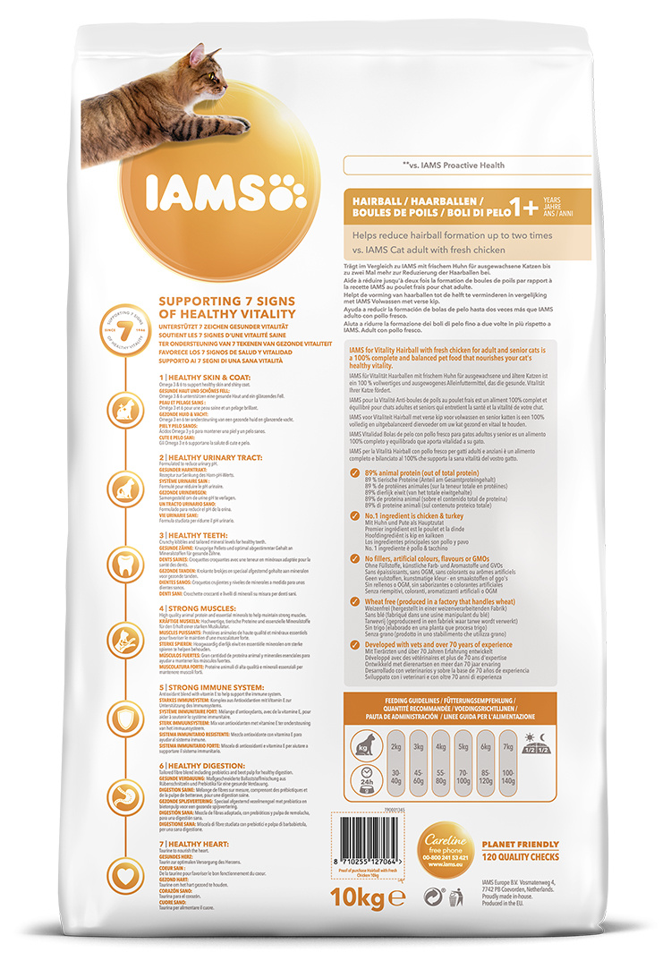 IAMS Cat Adult Hairball Reduction Chicken 10kg