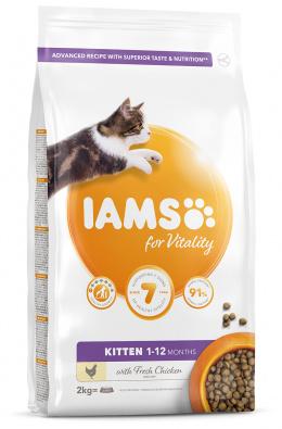 IAMS Cat Kitten Chicken 2kg + kachní kostky ZDARMA