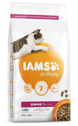 IAMS Cat Senior Ocean Fish 2kg + 4x konzerva ZDARMA