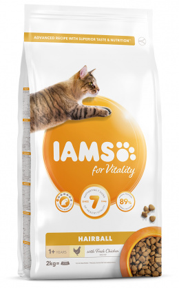 IAMS Cat Adult Hairball Reduction Chicken 2kg + 4x konzerva ZDARMA