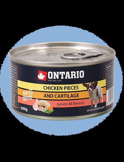 ONTARIO konzerva junior Chicken Pieces + Cartilage 200g 6+1 ZDARMA