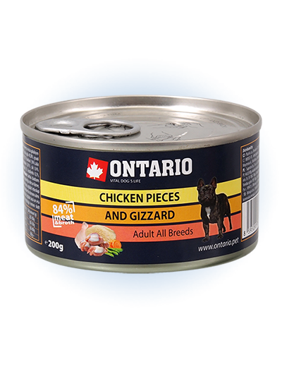 ONTARIO konzerva Chicken Pieces + Gizzard 200g