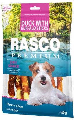Pochoutka Rasco Premium tyčinky bůvolí obalené kachním masem 80g