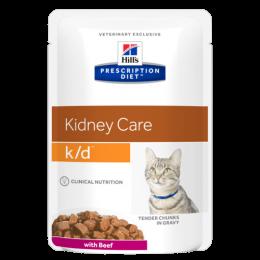 HILL'S Prescription Diet Feline k/d beef kapsička 9+3 zdarma