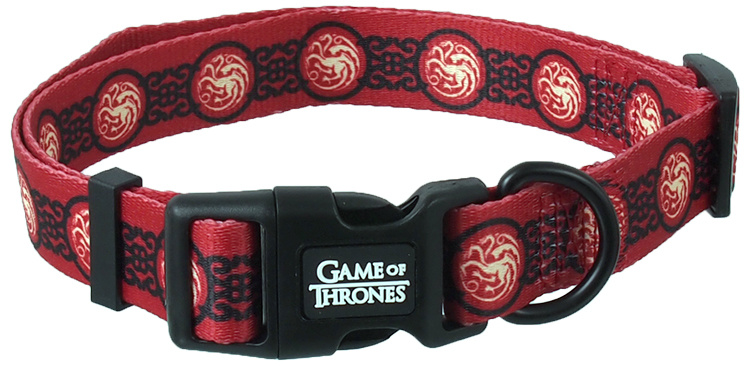 Obojek s vodítkem 100cm Game of Thrones Targaryen červený 2 x 35,5-51cm