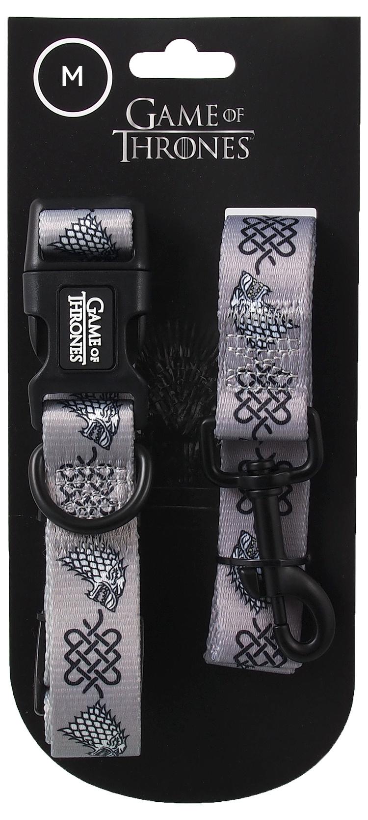 Obojek s vodítkem 100cm Game of Thrones Stark stříbrný 2 x 35,5-51cm