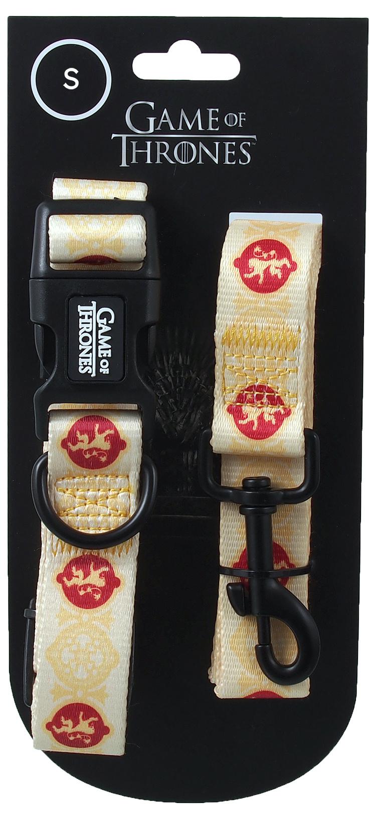 Obojek s vodítkem 100cm Game of Thrones Lannister žlutý 1,5 x 25-35,5cm
