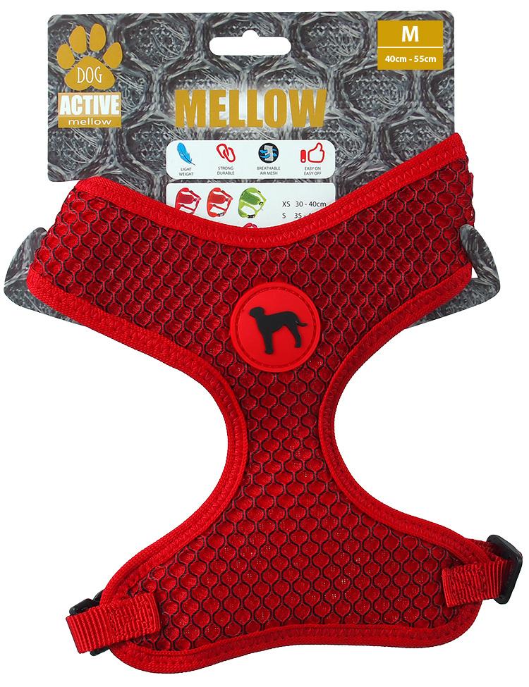 Postroj Active Dog Mellow M červený 1,5x40-55cm