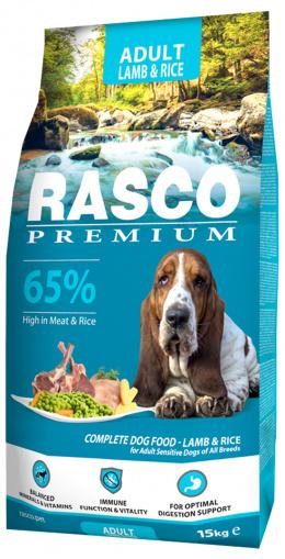Rasco Premium Adult Lamb & Rice 15kg + pamlskovník zdarma