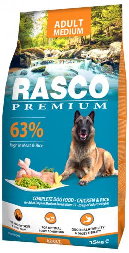 Rasco Premium Adult Medium 15kg + Hračka Hextex bumerang ZDARMA