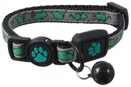 Obojek Active Cat Reflective XXS limetka 1x16-22cm