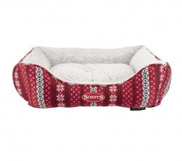 Pelíšek Scruffs Santa Paws Box Bed 60cm červený