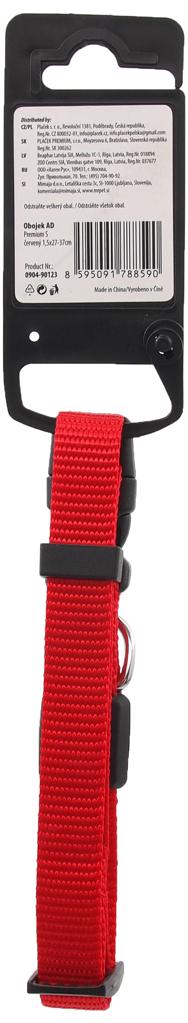 Obojek Active Dog Premium S červený 1,5x27-37cm