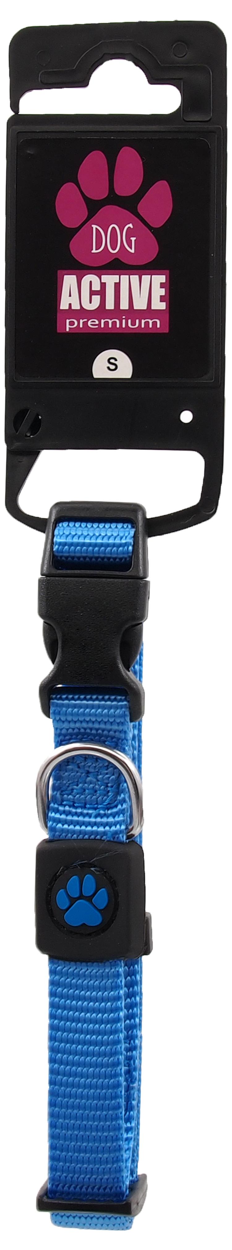 Obojek Active Dog Premium S modrý 1,5x27-37cm