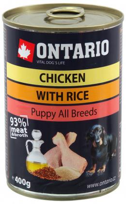 ONTARIO konzerva Puppy Chicken, Rice and Linseed Oil 400g