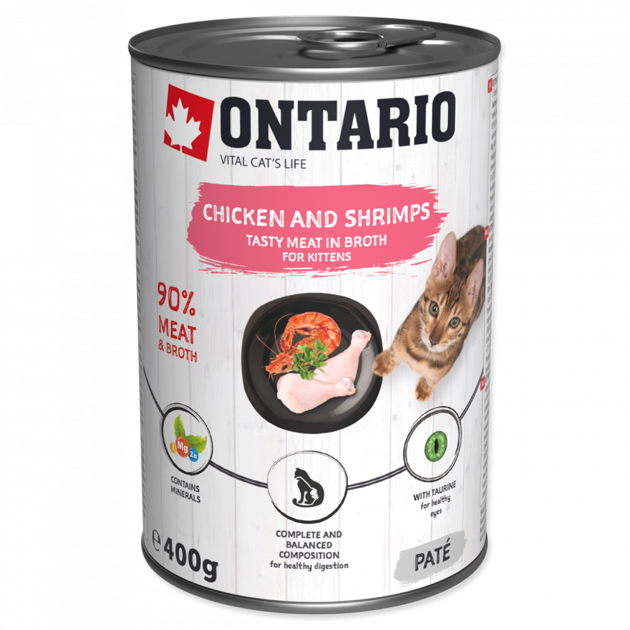 Konzerva Ontario Kitten Chicken, Shrimp, Rice and Salmon Oil 400 g