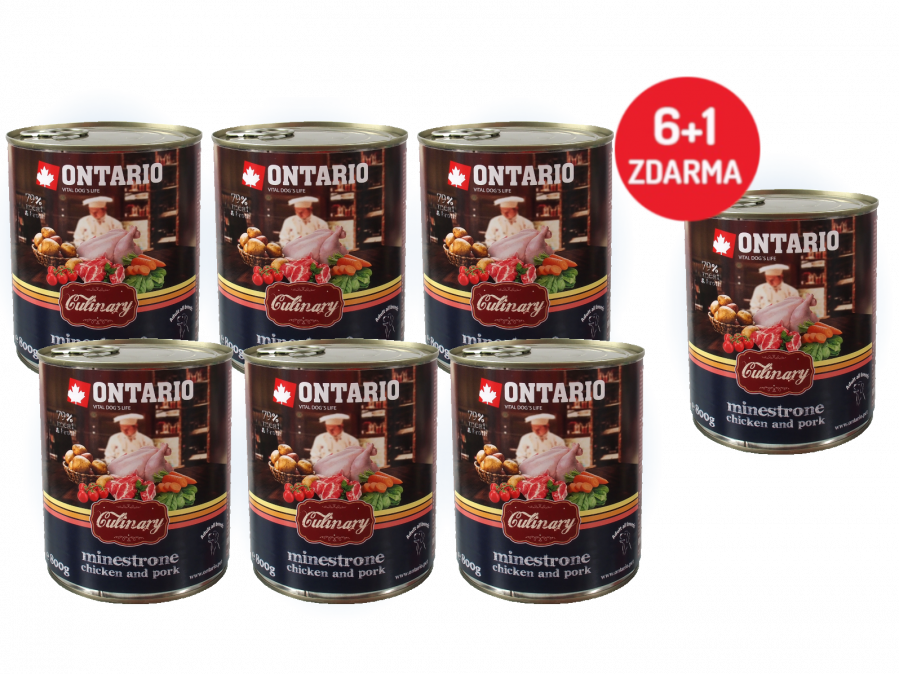 Konzerva Ontario Culinary Minestrone Chicken and Pork 800 g 6 + 1 ZDARMA