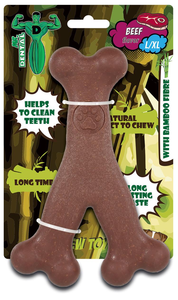 Hračka žvýkací Mr. Dental Bambone ypsilon hovězí L/XL