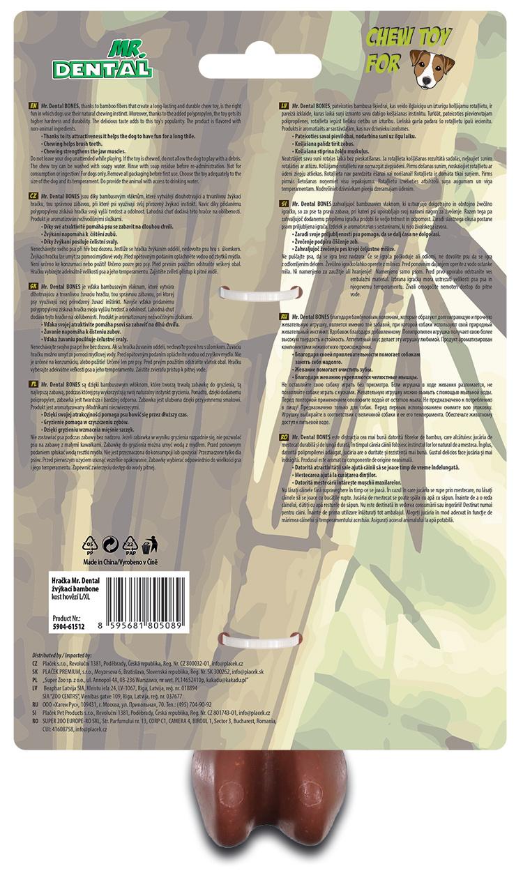 Hračka žvýkací Mr. Dental Bambone kost hovězí L/XL