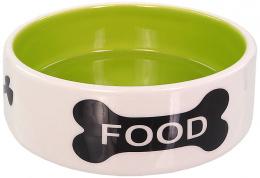 Miska Dog Fantasy keramická potisk kost bílo-zelená 0,28l