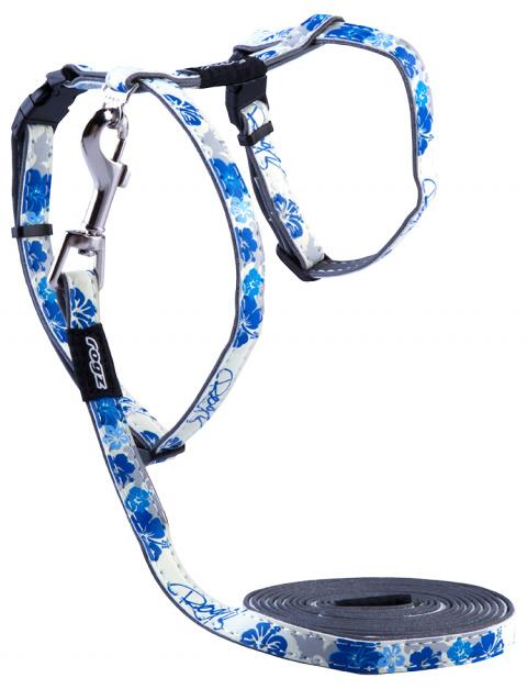 Postroj s vodítkem Rogz GlowCat Blue Floral