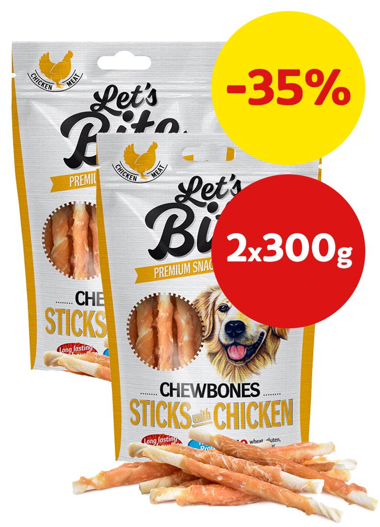 Brit Let´s Bite Chewbones Sticks with Chicken 2x300g