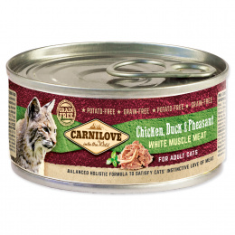 Konzerva Carnilove Chicken, Duck & Pheasant for Adult Cats 100g