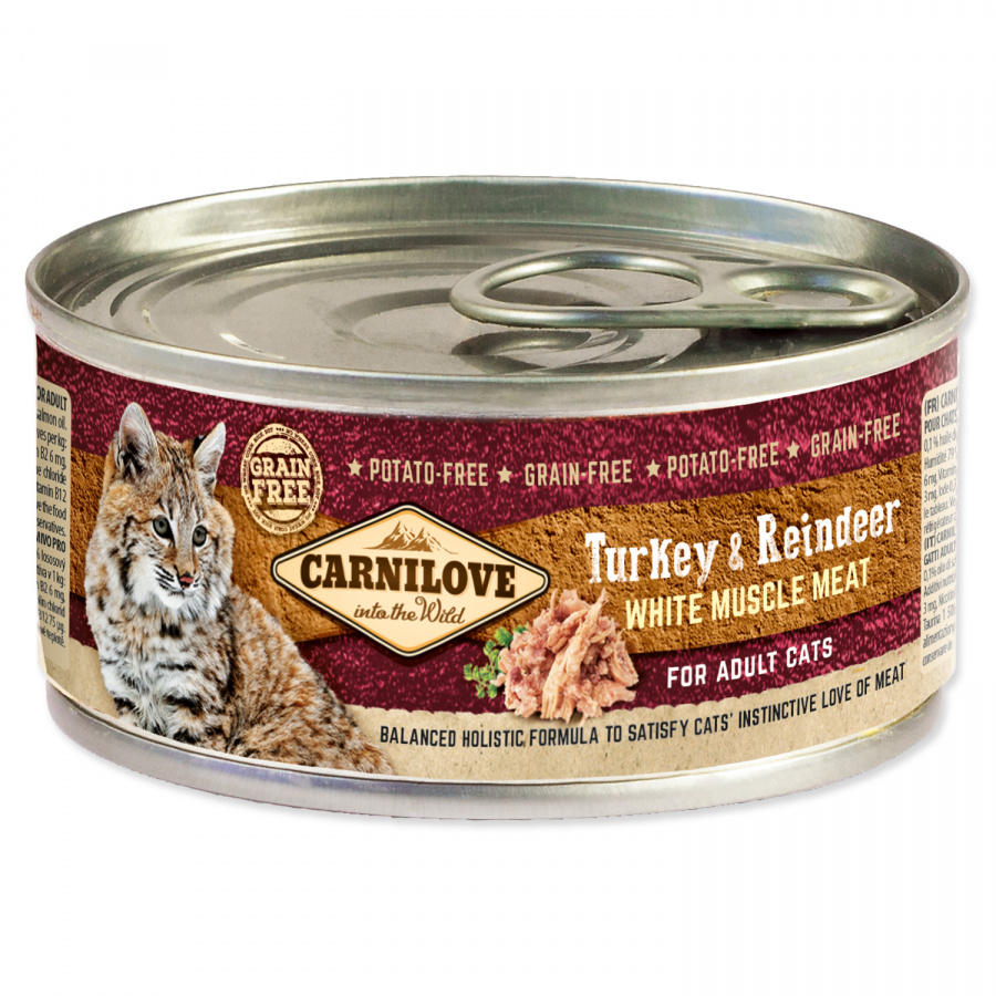 Konzerva Carnilove Turkey & Reindeer for Adult Cats 100g
