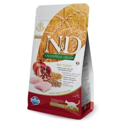 N&D Ancestral Grain Cat Neutered Chicken & Pomegranate 1,5kg