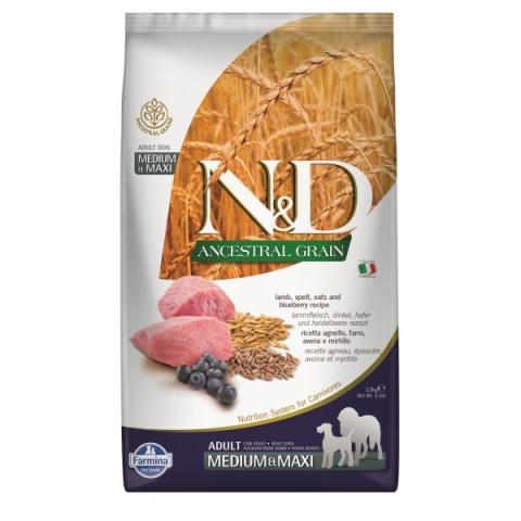 N&D Ancestral Grain Dog Adult M/L Lamb & Blueberry 2,5kg