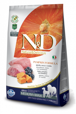 N&D Pumpkin Dog Adult M/L Lamb & Blueberry 12kg + barel na krmivo zdarma