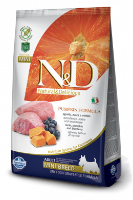 N&D Pumpkin Dog Adult Lamb & Blueberry Mini 7kg + barel na krmivo zdarma