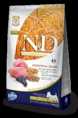 N&D Ancestral Grain Dog Adult Lamb & Blueberry Mini 7kg + barel na krmivo zdarma