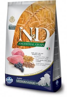 N&D Ancestral Grain Dog Puppy M/L Lamb & Blueberry 12kg + barel na krmivo zdarma