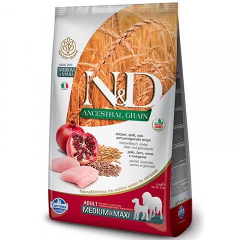 N&D Ancestral Grain Dog Adult M/L Chicken & Pomegranate 2,5kg