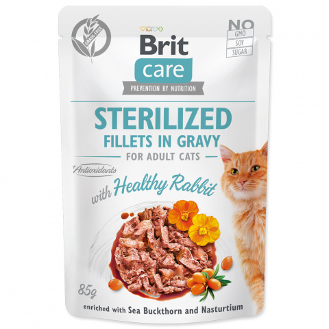 Kapsička Brit Care Cat Sterilized Fillets in Gravy with Healthy Rabbit 85g