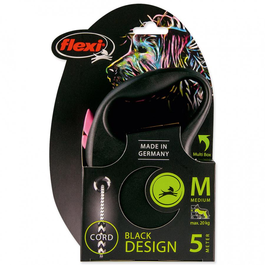 Vodítko Flexi Black Design lanko M 5m růžové