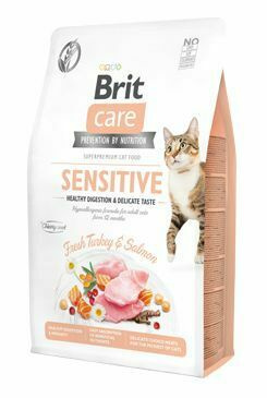 Brit Care Cat Grain-Free Sensitive Healthy Digestion & Delicate Taste 2kg + 400g zdarma