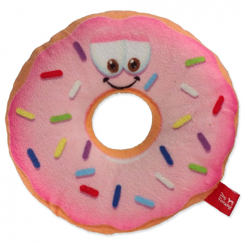 Hračka Dog Fantasy donut s obličejem růžový 12cm title=