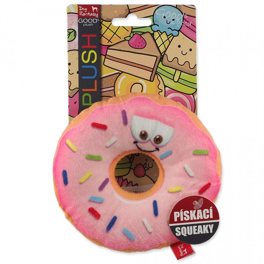 Hračka Dog Fantasy donut s obličejem růžový 12cm
