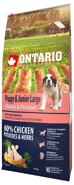 Ontario Puppy & Junior Large Chicken & Potatoes 12kg + 6 konzerv zdarma