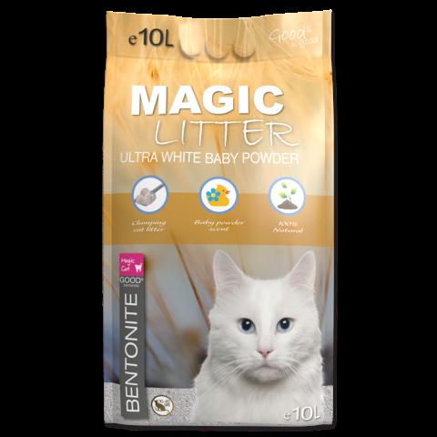 Kočkolit Magic Litter Bentonite Ultra White Baby Powder 10l title=